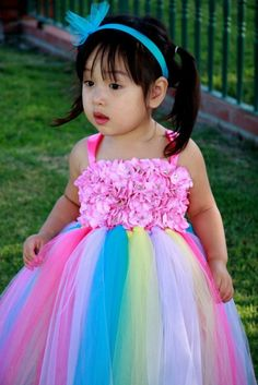 #GB Flower Girls Tutu Dress Cupcake Rainbow by PoshBabyStore.com