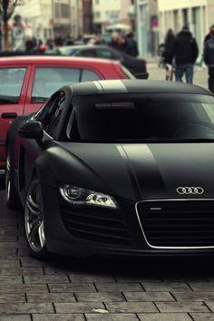 Matte black Audi R8.