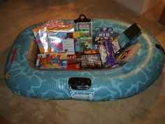 Children Summer Gift Basket - Large  Good idea for someone having a pool/swim party - get items from dollar store pool parties, school parties, raffle gift baskets, school auction baskets, summer basket ideas, auction gift basket ideas, golf gift ideas, auction basket ideas, summer gift
