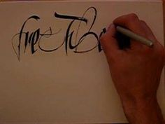 "Calligraphy demo using Pilot Parallel Pen and gestural polyrhythmic form: ""Free Tibet Now"""