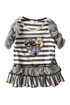 Ruched Sleeve Stripe Dress (Baby, Toddler, & Little Girls) by Hannah Banana on @HauteLook