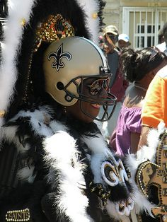 Saints inspired Mardi Gras Indian in New Orleans. (Image from flickr, courtesy of RPhotos)