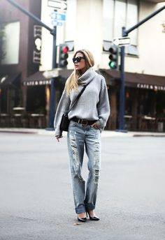 love the destroyed jeans and cuff
