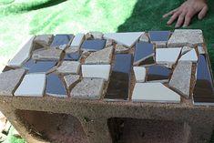 yard, mosaics, block planter, cinderblock, diy project, cinder block, planters, garden, mosaic cinder
