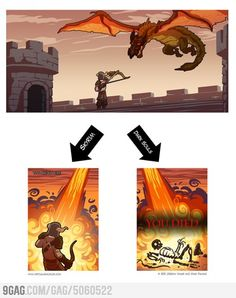 Fighting a dragon: Skyrim vs Dark Souls. Both are awesome games, but Dark Souls makes you want to rip out your hair.