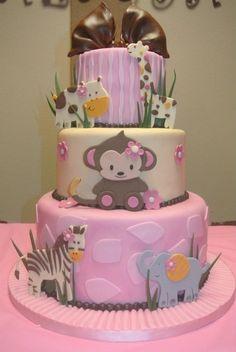 Adorable Monkey girl baby shower cake.