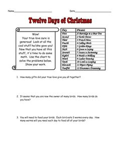 FREE 12 Days of Christmas Math Story Problems with Answer Key - Here are 12 word problems based around the Twelve Days of Christmas song. These are fun and challenging! There is also an extra creative thinking activity at the very end.