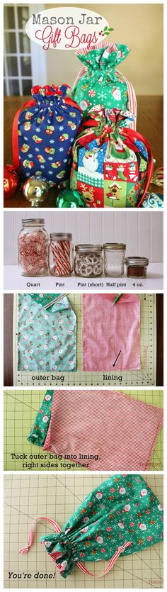 Mason Jar Gift Bags Tutorial ~ Do you like to give gifts in mason jars? There are so many ideas for what to put inside-candy, jams, cookie mixes, candles, even sewing kits. Here's how to wrap them up so the contents are a surprise: cute fabric drawstring bags!