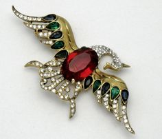 Magnificent Rare Vintage TRIFARI STERLING Philippe Bird Brooch Pin 1942