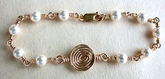 Spiral Link Bracelet Jewelry Making Project Made with Swarovski Pearl Beads