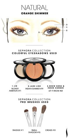 NATURAL: Orange Shimmer HOW TO. #sephoracollection #sephora #eyeshadow #mua @Refinery29 #SephoraSweeps