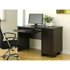 Enitial Lab Mainstreet Cappuccino Office Desk with Keyboard Tray | Overstock.com