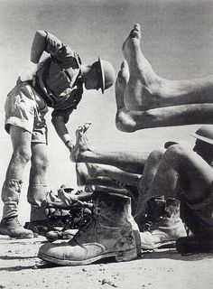 Foot inspection for the 7th Armoured Division. North Africa, World War II