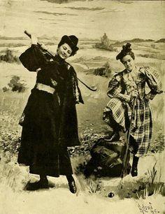 Two woman sporting golfing attire for a portrait studio photo, 1895 sport golf, fashion place, portrait studio, hairstyles, studio photos, golf attir, fashion zone, portraits, golf fashion