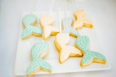 Mermaid tail cookies on a stick