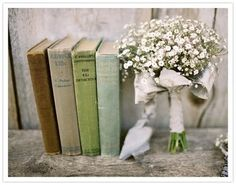 babies breath, vintage books, white flowers, color palettes, wedding bouquets, duck egg blue, book theme, bridesmaid bouquets, old books