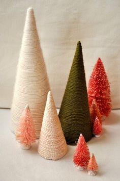 Trees made with cones and yarn