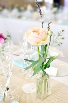 Peach Garden Rose and Lavender in a vintage bottle. #wedding #flowers | by Gavita Flora