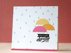 Welcome Spring Card by Laura Bassen for Papertrey Ink (April 2014)