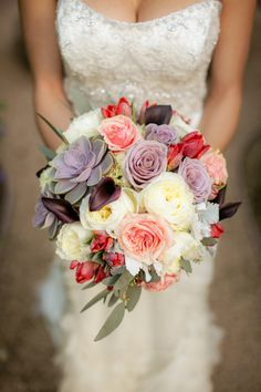 Gorgeous succulents in the bouquet. Love how this turned out! #wedding #flowers #bride
