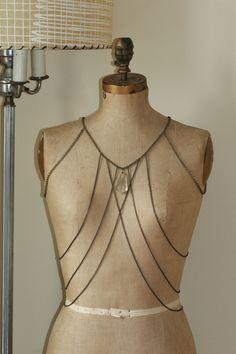 Crystal Lattice Body Necklace. $175.00, via Etsy.