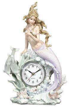 Mermaid and Dolphin Table Clock