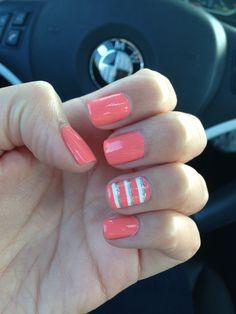 coral and white nails, color, silver, stripe nail, coral nail, striped nail, summer nails, nail arts, nail design