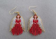 Beaded Angel Earrings in Red delica beads