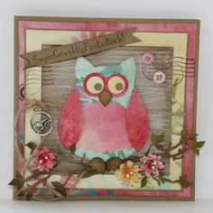 Collectable Owl COL1302 used with paper from Paperbloc Fancy Flowers PK9088