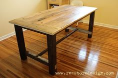 Reclaimed Wood Farm Table | Do It Yourself Home Projects from Ana White $60 Reclaimed wood farmhouse table!!!  Absolutely amazing!