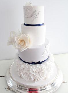 Elegant white & navy cake