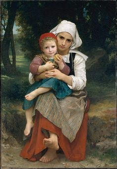 Breton Brother and Sister  William Bouguereau  (French, La Rochelle 1825–1905 La Rochelle)    Date:      1871  Medium:      Oil on canvas  Dimensions:      50 7/8 x 35 1/8 in. (129.2 x 89.2 cm)  Classification:      Paintings  Credit Line:      Catharine Lorillard Wolfe Collection, Bequest of Catharine Lorillard Wolfe, 1887  Accession Number:      87.15.32    This artwork is currently on display in Gallery 809