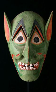 Mexican Masks - Green Devil mask from Michoacan, Mexico