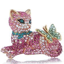 Butler & Wilson Lying Down Crystal Cat & Butterfly Brooch -