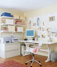 Cute office shelves.