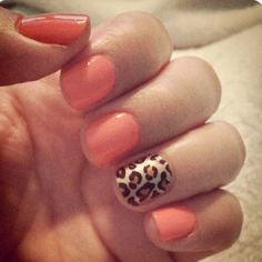 cheetah nails with coral, nail polish, anim print, leopard nails, peach, nails cheetah print, animal prints, color nails, leopard prints