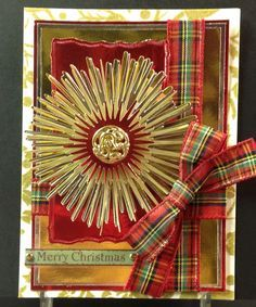 "My first Tartan Holiday Card! The star burst is one of Anna Griffin's designs on the Cricut Cartridge, ""Winter Wonderland."""