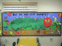 Still Hungry board craft, the hungry caterpillar, hungry caterpillar party, bulletin boards, book, hungri caterpillar, art projects, eric carle, classroom boards