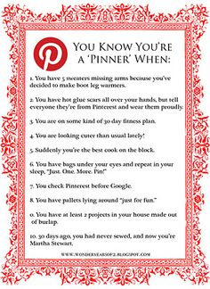 You Know You're a {Pinterest} Pinner When...