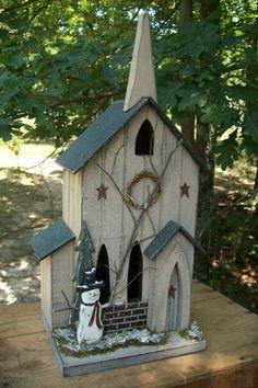 Snowmen Church wooden and lights, handmade USA, Kathy's Holiday, Ocean City, NJ