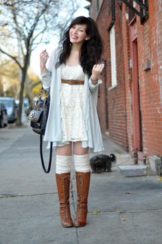 sock, fall fashions, coach bags, outfit, the dress, white lace, vintage sweaters, brown boots, little white dresses