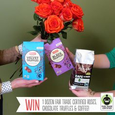 Looking for the perfect #ValentinesDay gift? Enter for your chance to #win these socially & environmentally sustainable #FairTrade goodies here: http://fairtrd.us/1m4RNIn #giveaway   Courtesy of: @Allegro Coffee, @Alter Eco  & One World Flowers