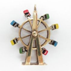 14 KT Charm Yellow Gold Enameled 3D Movable Ferris Wheel Pendant Vintage