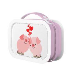 Cute Cartoon Pigs in Love Lunch Box #lunchbox #tshirts #pigs #pink #love #cartoon #kawaii #cheerfulmadness