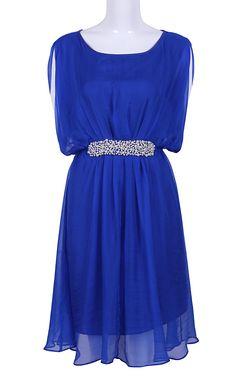 Blue Sleeveless Pearls Embellished Silk Dress