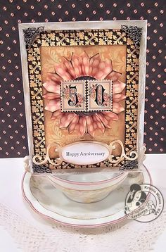 This amazing card can be done in a mere 10 minutes. This beautiful example using Le Romantique is by @Kristin Wilson! Amazing! #graphic45 #cards