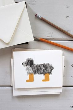 Rifle Paper Co. Shaggy Dog Card, Set of 8 - What's a dog to do on a rainy day?