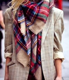 Oversized Plaid Scarf With Blazer- different lines , but similar texture