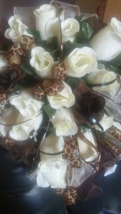 Chocolate/Leopard Bridal BLiNG wedding bouquet....$98.95....The Sugar Shack General Store....Edgar, Nebraska
