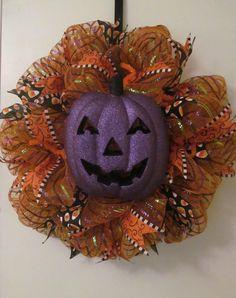 Halloween Pumpkin Face Deco Mesh Door Wreath    by Doris2618, $30.00